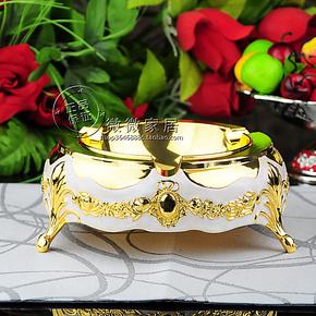 厂家正品包邮欧式烟灰缸酒店KTV合金烟灰缸银色珠花五种胶四尺寸