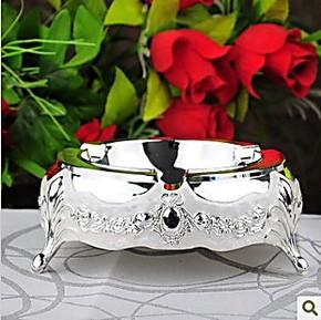 欧式复古大号KTV酒店 烟灰缸 合金镀银工艺创意个性 水晶滴色包邮