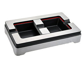 COHIBA高希霸 纯金属拉丝雪 茄烟灰缸 可调烟槽设计3026