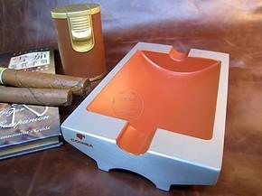 雪 茄烟灰缸 2支装高希霸烟灰缸专用 纯金属高档烤漆个性时尚烟缸