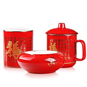 红瓷青花瓷套装茶杯笔筒烟灰缸 送父母生日礼物 送老人的实用礼物