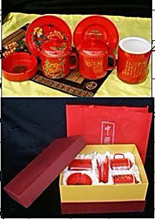 湖南特产中国醴陵红瓷系列 双套杯 笔筒 烟灰缸 四件套