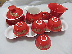 红瓷功夫陶瓷茶具套装盖碗茶海茶杯烟灰缸过滤网结婚礼物用品茶具