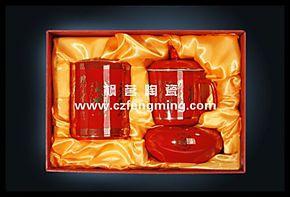 中国红瓷商务礼品办公组个人杯陶瓷品茗口杯/笔筒/烟灰缸结婚礼品