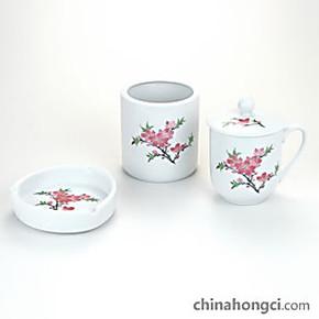 醴陵红瓷 办公三件套 笔筒 茶杯 烟灰缸 时尚陶瓷 商务送礼