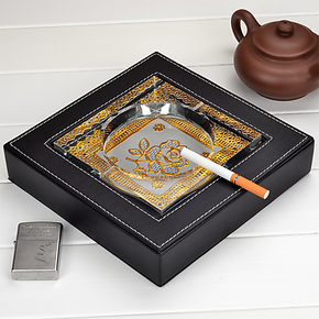 辉航 黑色牛皮纹水晶皮套烟灰缸 欧式时尚创意个性包邮大号烟缸
