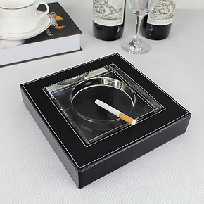 丽然 精品皮艺烟灰缸 盒 水晶烟缸 欧式 创意 时尚 高档 大
