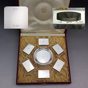 欧美古董银器/卡地亚/cartier/纯银/烟灰缸/火柴套/套装/各6只