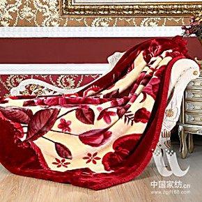 专柜正品 红豆婚庆毛毯 喜庆风亚克力毛毯 秋冬加厚红豆沙8斤毛毯