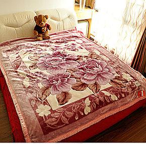 居艺家纺 红豆正品 拉舍尔毛毯 亚克力双层加厚毛毯 保暖6.6斤