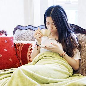 维科兴洋毛毯 素色珊瑚休闲绒毯/盖毯 可做床单 1.5米/1.8米