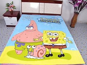 包邮印花卡通珊瑚绒毯床单春秋毯 毯子毛毯 床单 海绵宝宝 双人