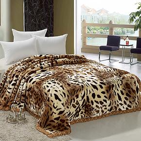 单双人双层加厚拉舍尔毛毯子 豹纹 印花学生盖绒毯保暖休闲毯特价