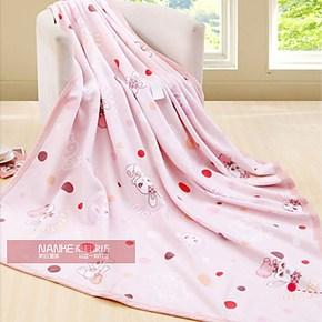 双11大促品牌棉拉舍尔棉毯 可爱韩版超柔贴肤印花毛毯午睡毯/垫毯