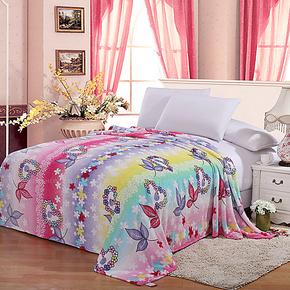 合雨 毛毯正品大清仓 法兰绒毯子 冬季加厚保暖印花床单 便宜抢购