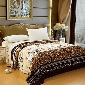 【天天特价】千寻美家包邮印花休闲毯法兰绒毛毯床单毯四季毯