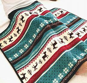 小鹿印花条纹珊瑚绒小毛毯儿童用毯膝盖毯空调保暖毯