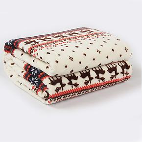 冬用加厚法兰绒毯子 圣诞麋鹿珊瑚绒印花毛毯 空调毯包邮特价床单