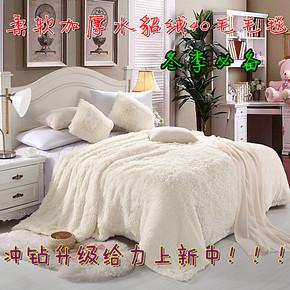 冬季新款加厚毛毯水貂绒40毛毛毯冲钻特价毛毯纯色床单毛毯盖毯子