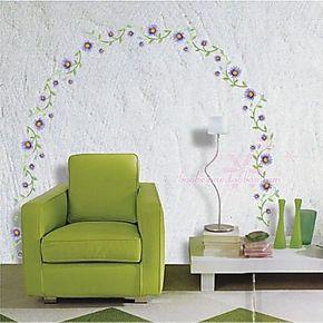 家装/卧室客厅 藤花 沙发背景墙贴 壁纸壁贴花草 兰花 地脚线