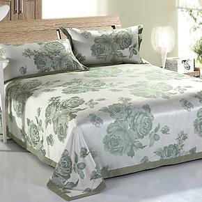 海利源 竹纤维凉席三件套 夏日凉席套件 床单枕头软凉席子