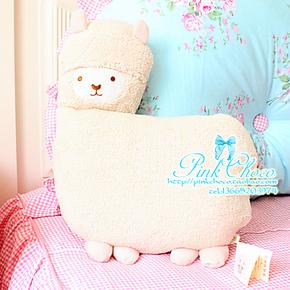正版日本Aunt Merry羊驼 超萌神兽优质车载靠垫/抱枕 空调小毛毯