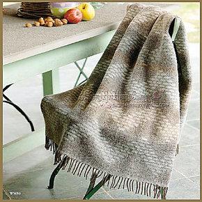 罗莱家纺 2012新款 Q560意大利进口 几何韵律提花羊毛毯 羊驼毛