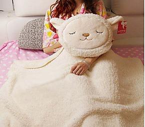居家靠垫抱枕毛毯 羊驼靠垫枕头 家居空调被抱枕毛毯
