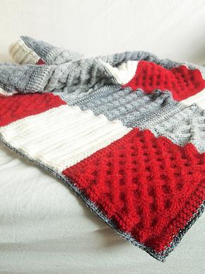 in warm手工制品 羊驼绒 手工编织沙发毯/休闲毯/羊毛毯 红灰