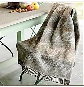 罗莱家纺专柜正品 Q560意大利几何韵律提花羊毛毯 进口羊驼毛盖毯