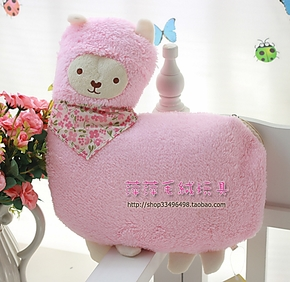 正版日本养生堂 可爱羊驼抱枕毛毯 珊瑚绒毯 空调毯