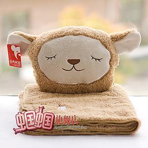 爆款 超可爱羊驼珊瑚绒空调毯 卡通毛绒绵羊抱枕毯 抱枕被 毛毯子