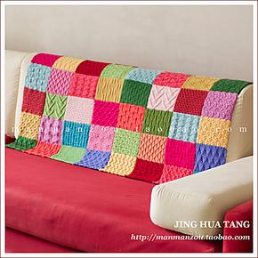季末清仓!彩色手工编织毛毯 儿童毯子 阅读毯沙发毯摄影背景道具