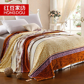 红豆家纺 法莱绒毯 四季绒毯 不掉毛不掉色双人毯子 毛毯床单