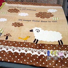 儿童卡通法莱绒毛毯加厚 锦绣珊瑚绒毯子 抗静电 小绵羊 咖