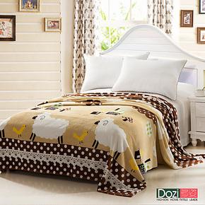 【多姿家纺】法莱绒毛毯 夏季毯 休闲空调毯 珊瑚绒毯卡通 小绵羊