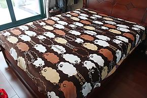 清仓咖啡色小绵羊 卡通 法兰绒珊瑚绒床单/毛毯 盖毯 加厚丝滑2米