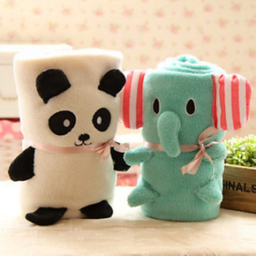 厂家批发小绵羊轻松熊猫珊瑚绒车载空调毯 卡通儿童盖卷毛毯