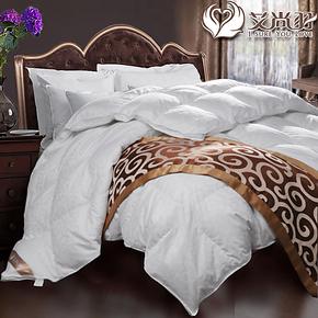 送毛毯】艾尚羽羽绒被加厚95白鹅绒被冬被子双层提花贡缎特价正品