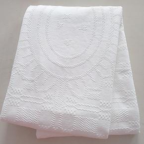 特价外贸全棉线毯 白色提花毛毯  空调盖毯  单人棉毯 纯棉毛巾被