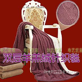 高档保暖加厚双层提花羊羔绒针织毛毯盖毯空调毯空调被沙发垫毯膝