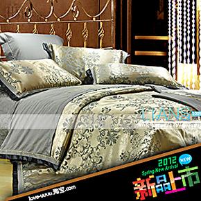 恋尚寝饰 商务风格丝棉大提花床上用品 绗缝夹棉床盖四件套送毛毯