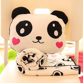 包邮 卡通可爱熊猫空调毛毯 抱枕毯 办公护膝毛绒毯 空调被抱枕
