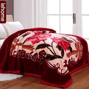 lehome拉舍尔毛毯加厚双层 双人珊瑚绒毯子 冬用保暖毯子特价包邮