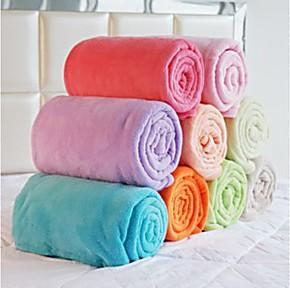 秋冬薄毯 双面珊瑚绒毯子 纯色舒棉绒 毛毯 法莱绒毯 特价批发
