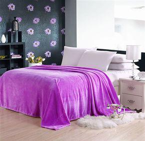 半包邮 素纯色法莱绒毛毯 长绒舒棉绒紫色  春秋毯空调毯四季适用