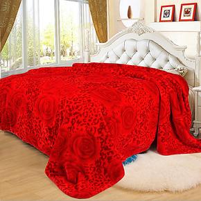 菲依班 毛毯双层加厚拉舍尔云毯 单双人休闲毯 红色婚庆毛毯特价