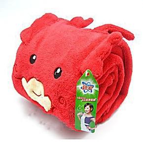 宝洁赠品 红色卡通小龙毛毯 儿童毛毯 毛绒毯子 空调毯