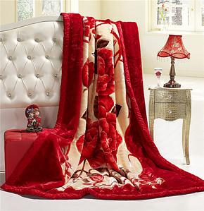 水星家纺加厚拉舍尔毛毯双层冬用保暖婚庆大红盖毛毯子双人正品特
