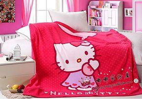 卡通珊瑚绒毯子KT毛毯 夏凉被空调毯春秋毯 HelloKitty玫红毯子